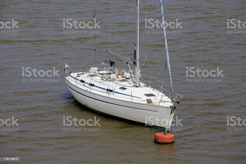Yacht moored in the bay royalty-free stock photo
