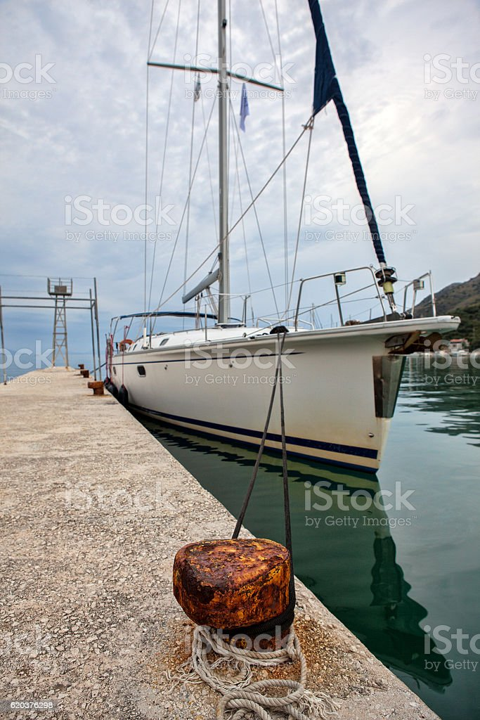 Yacht moored in the port foto de stock royalty-free
