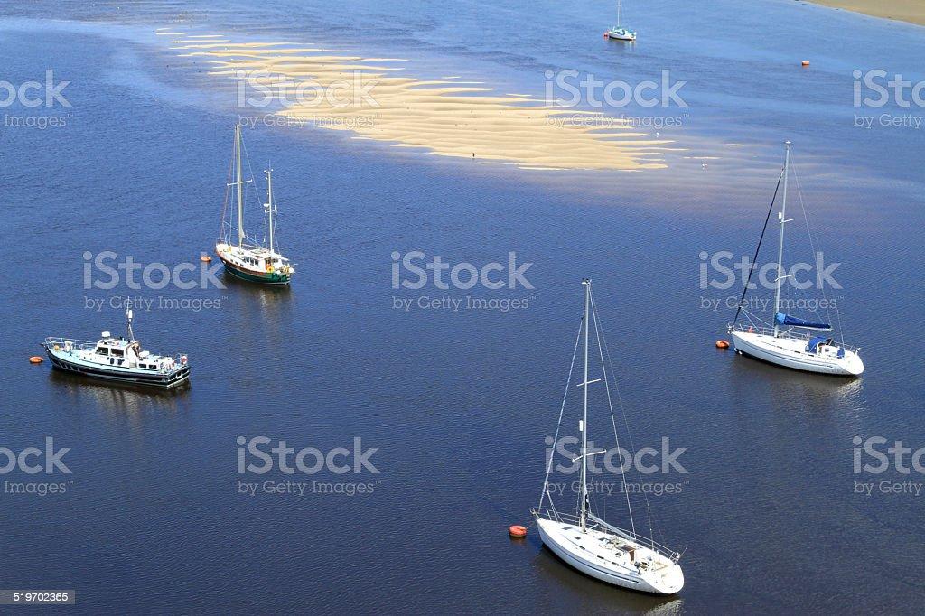 Yacht Moorings In Tidal Estuary stock photo