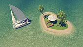 Pleasure yacht near small heart shaped tropical island with deck chairs, parasol and palm trees among clear ocean. Aerial view. Illustration was done from my own 3D rendering file.