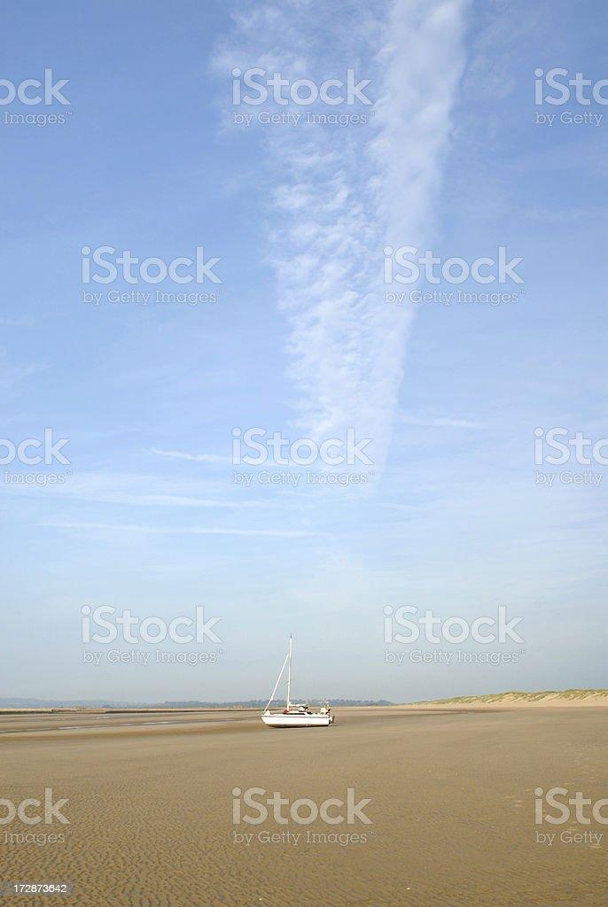 Yacht on Beach royalty-free stock photo