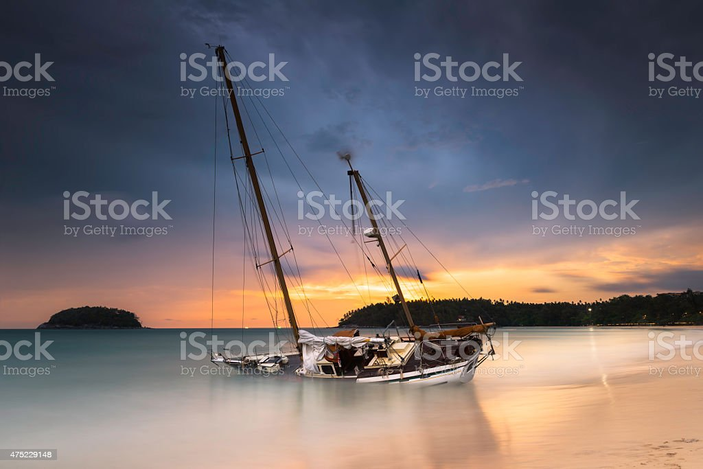 yacht on the beach khuket thailand stock photo