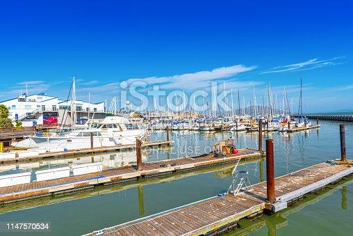 San Francisco, California, USA - September 10, 2018: Ocean Quay in the north of San Francisco. Yacht parking.