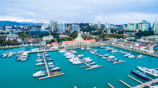 yacht port in the city from drone yacht port in the city sochi stock pictures, royalty-free photos & images