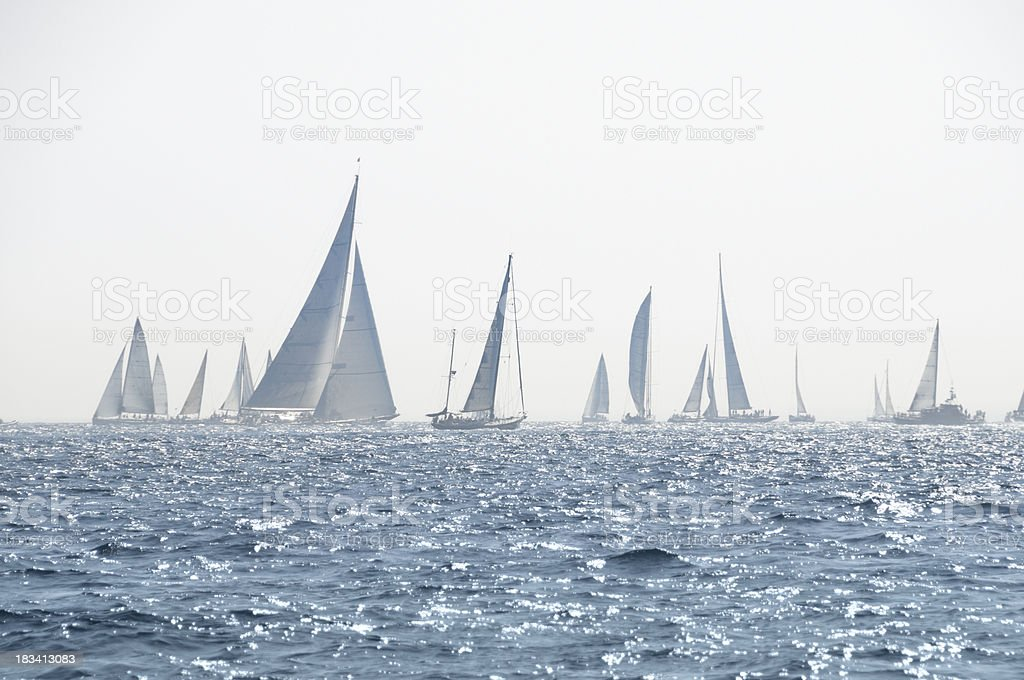 Yacht racing in the mist royalty-free stock photo