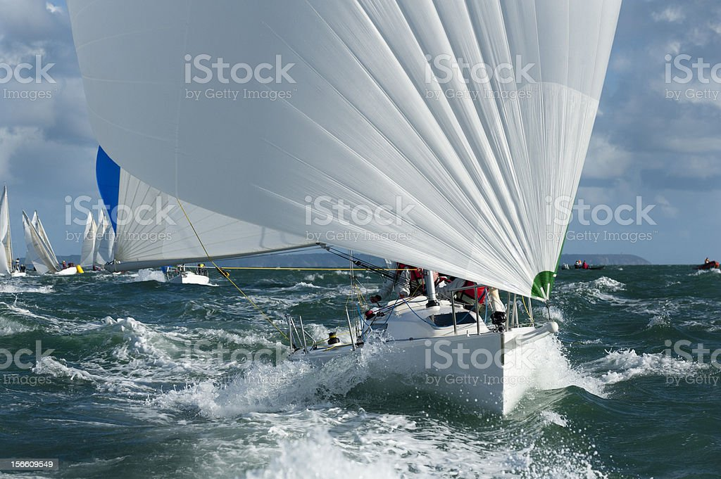 yacht racing in the swell stock photo