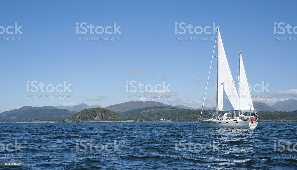 Yacht Sails North Up The Firth Of Lorne Stock Photo & More Pictures