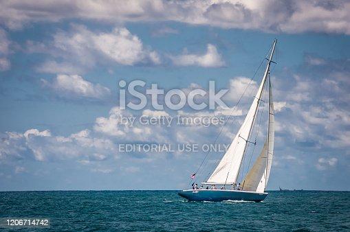 Phillipsburg, Saint Martin-October 30, 2019-The twelve meter racing yacht