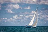 Phillipsburg, Saint Martin-October 30, 2019-The twelve meter racing yacht \