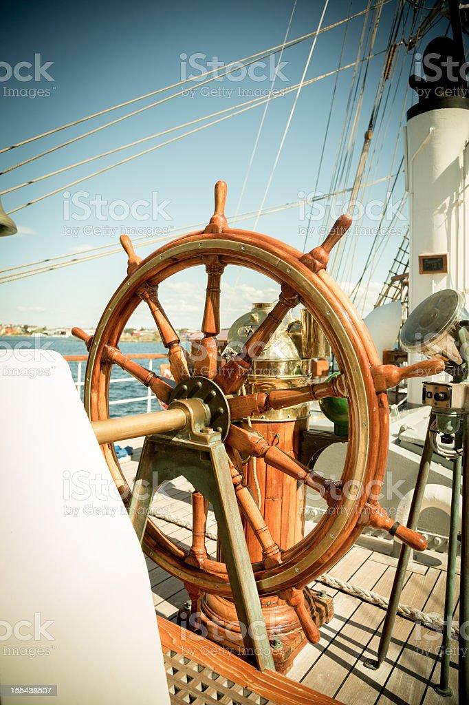 Yacht Steering Wheel stock photo