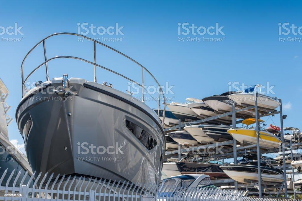 Yacht storage stock photo