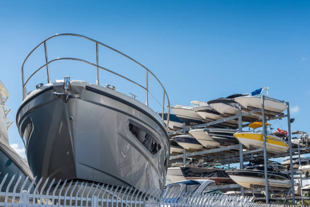 yacht storage - yacht front view stock photos and pictures