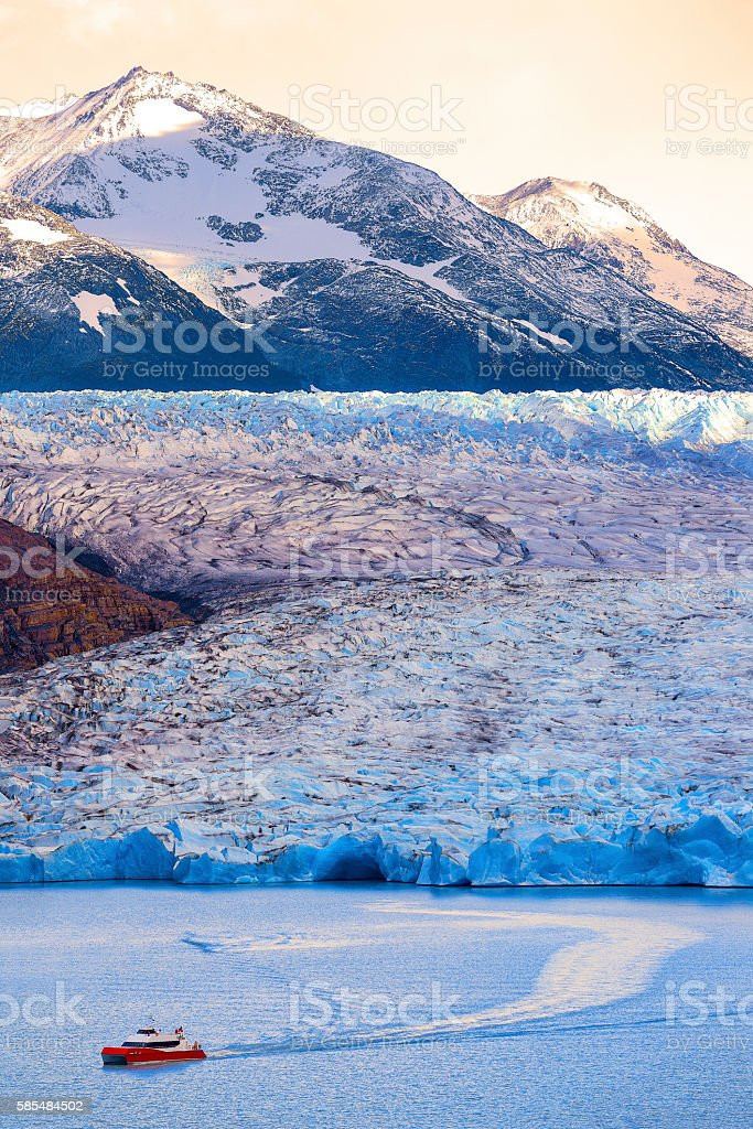 Yacht trail in Grey glacier torres del paine, Chile. stock photo