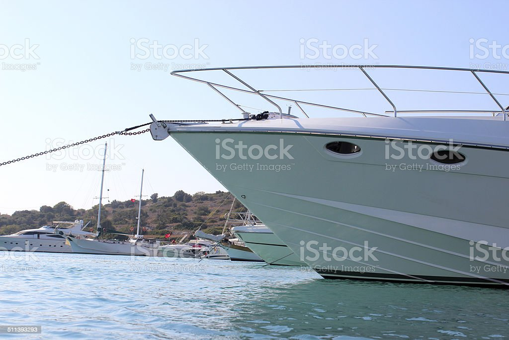 Yacht view from surface level stock photo