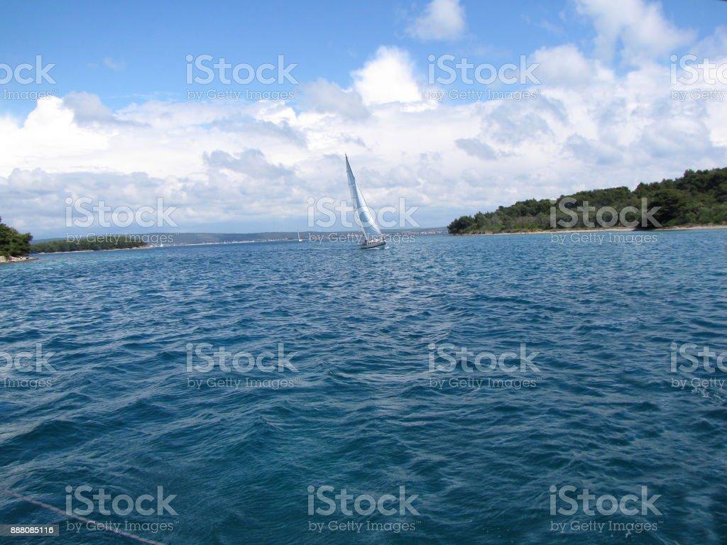 Yachting in Dalmatian region. stock photo