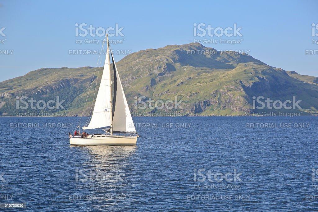 yachting on the Sound of Mull, Scotland, UK. stock photo