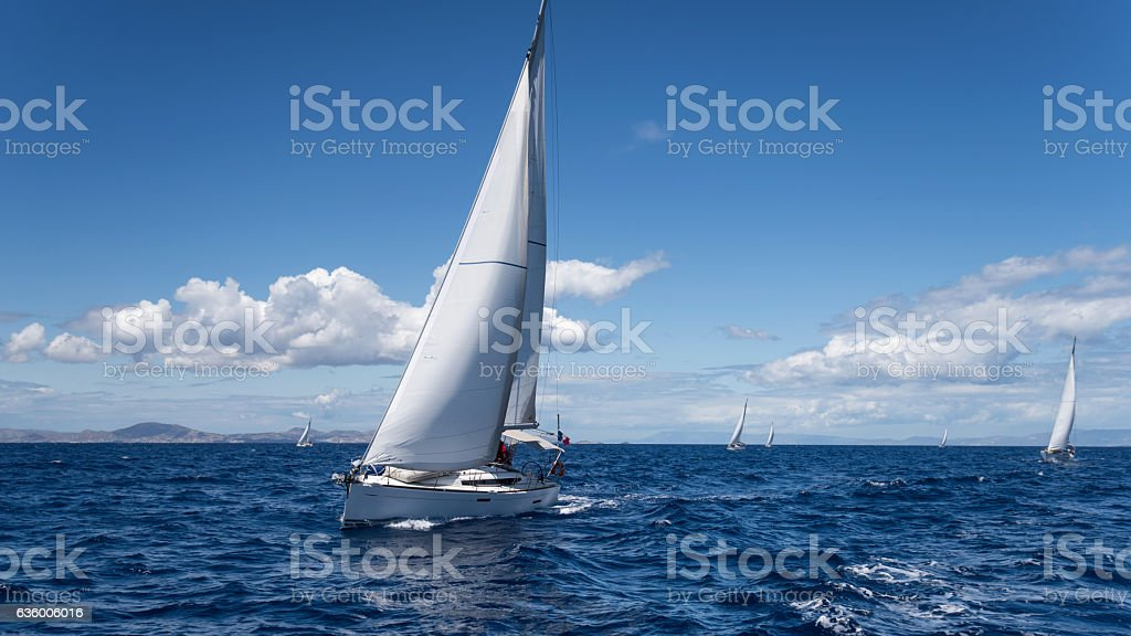 Yachting regatta in the Mediterranean sea stock photo