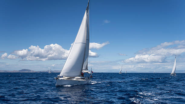 yachting regatta in the mediterranean sea - regatta stock-fotos und bilder
