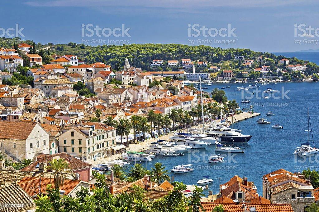 Yachting waterfront of Hvar island stock photo