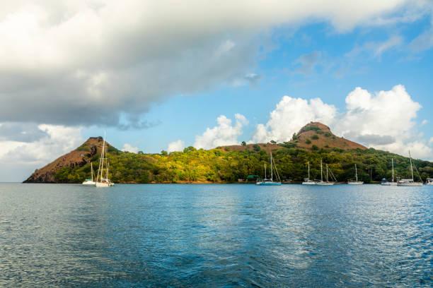 Yachten vor Anker auf der Taubeninsel, Rodney Bucht, St. Lucia, Karibisches Meer – Foto