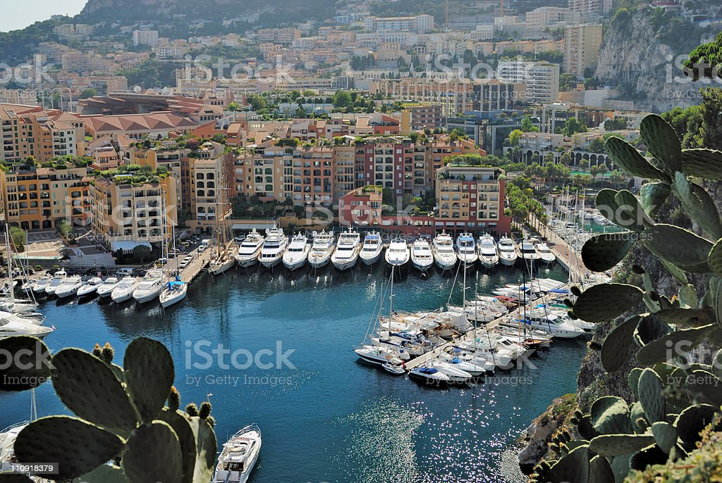 Yachts and apartments in port Fontvieille. Monte Carlo stock photo