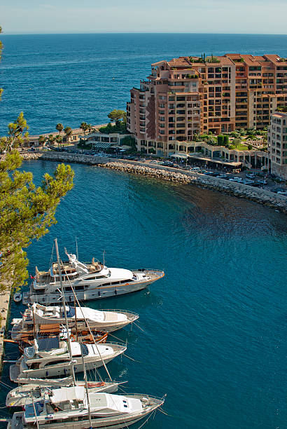 Yachts and apartments in port Fontvieille Monte Carlo stock photo