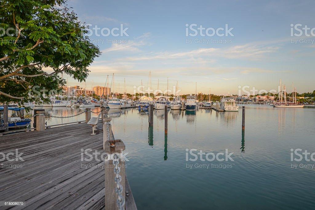Yachts and boats at Cullen Bay Marina, Darwin stock photo
