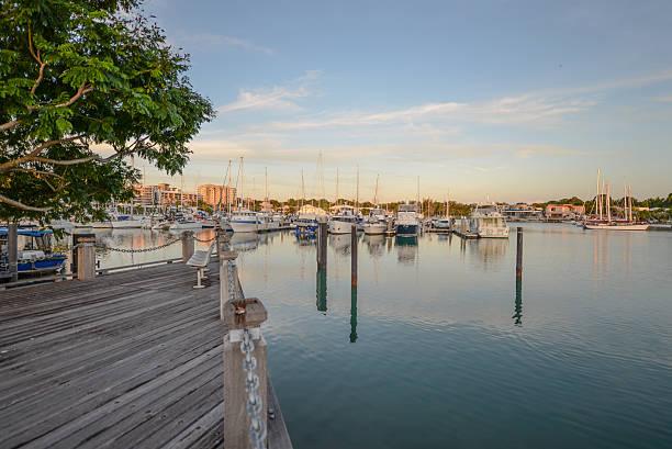 yachts and boats at cullen bay marina, darwin - darwin stock photos and pictures