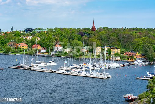 istock Yachts and boats in Djurgarden marine, Stockholm, Sweden 1214997349