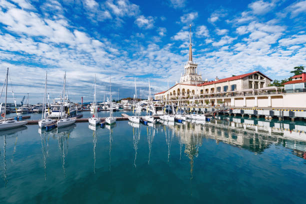 Yachts and boats in Sochi. Yachts and boats anchored in the port of Sochi. Russia. sochi stock pictures, royalty-free photos & images