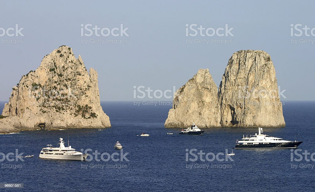 Yachts and cliffs royalty-free stock photo