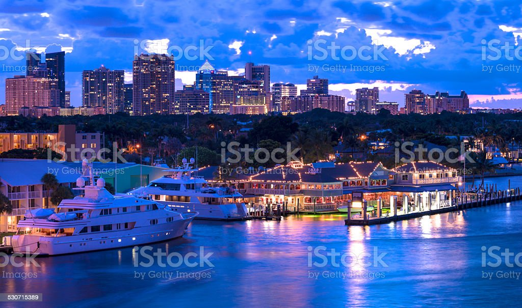Yachts and Fort Lauderdale Skyline at Twilight stock photo