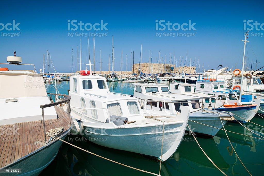 Yachts and Motor Boats Iraklion Harbor Crete royalty-free stock photo