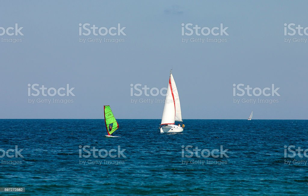 yachts and surfing . Lizenzfreies stock-foto