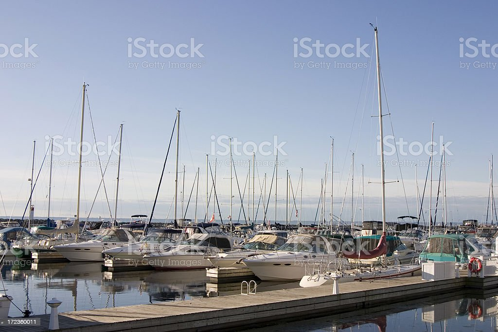 Yachts at a marina stock photo