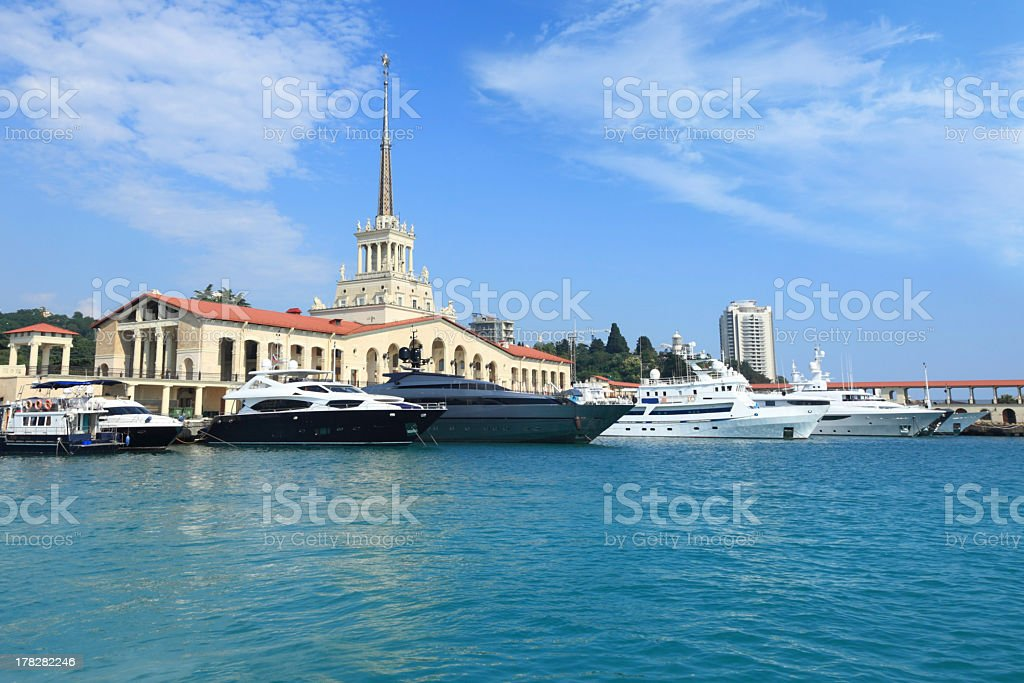 Yachts at a port in Sochi on a sunny day royalty-free stock photo