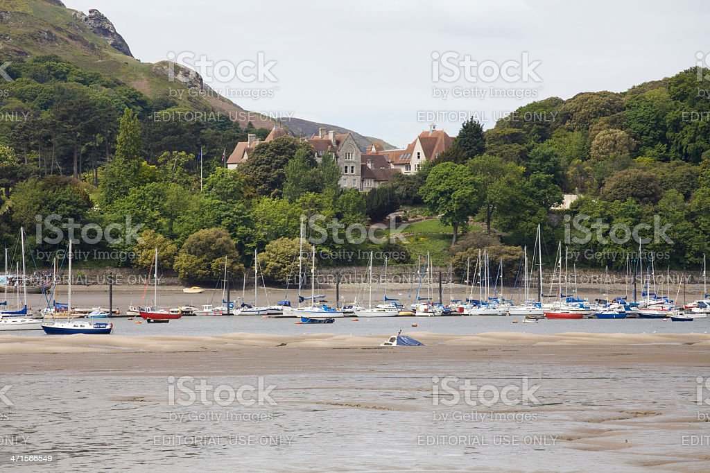 Yachts at Low Tide on the North Wales Coast royalty-free stock photo