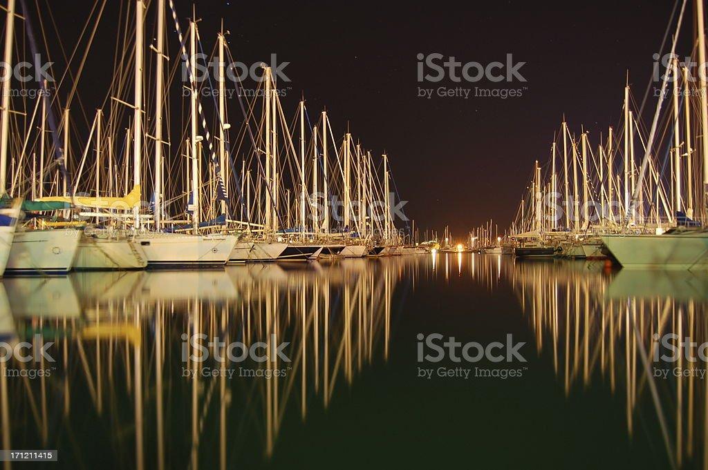 Yachts at Night royalty-free stock photo