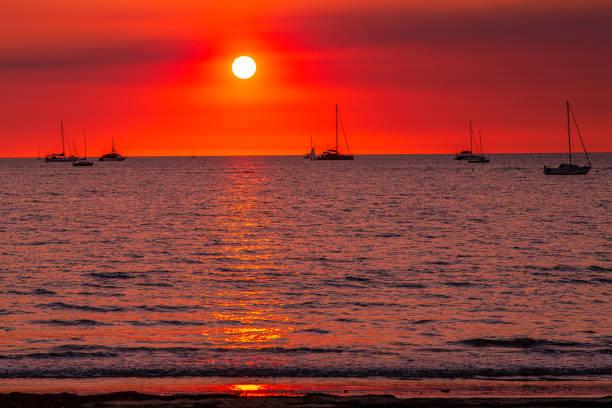 Yachts at Sunset in Darwin stock photo
