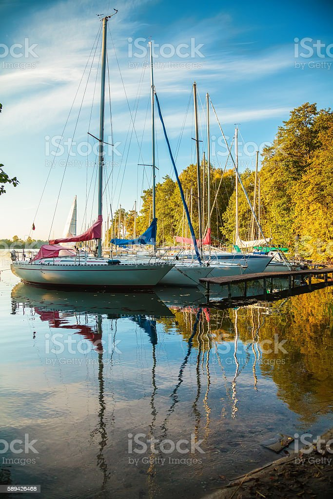 yachts at the lake Galve in Trakai stock photo