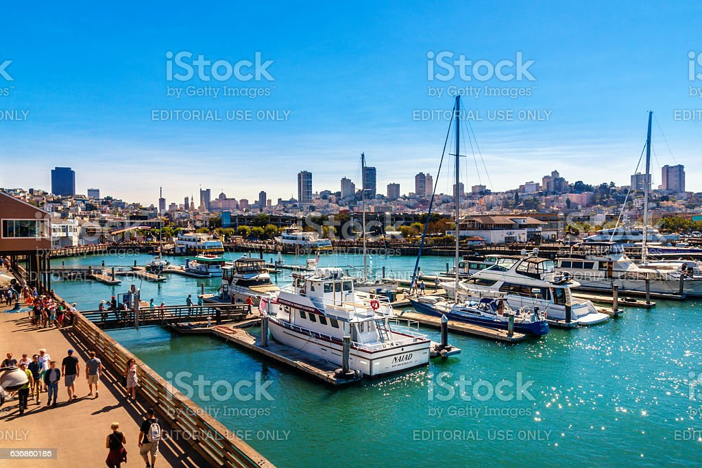 Yachts docked at Pier 39 Marina in San Francisco, California stock photo