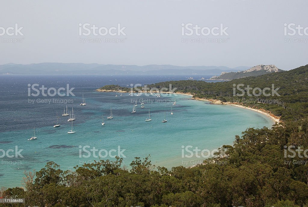 Yachts in a bay stock photo