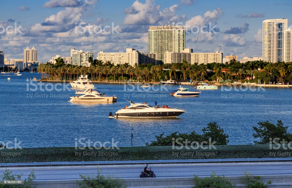 Yachts in Biscayne Bay stock photo