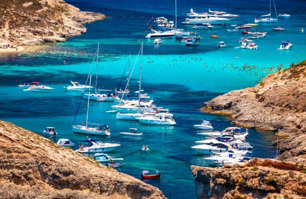 Yachts in blue lagoon at Comino - Malta stock photo