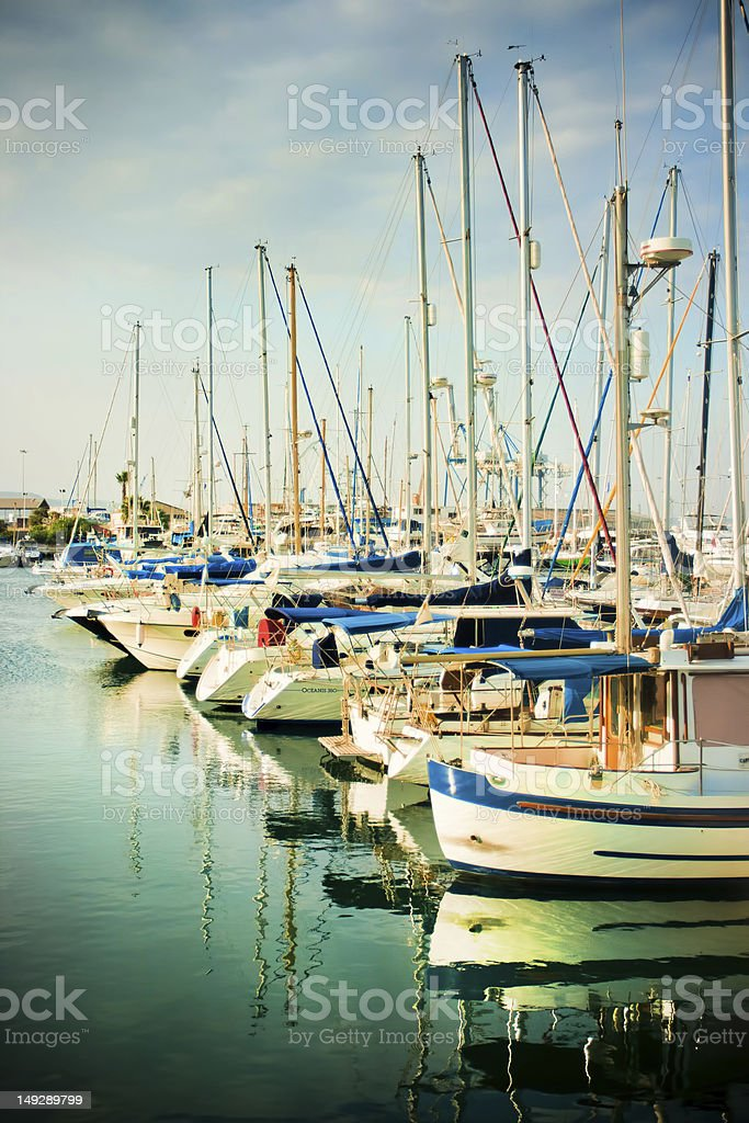 Yachts in port royalty-free stock photo