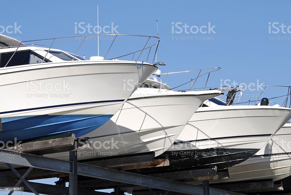 Yachts in storage stock photo