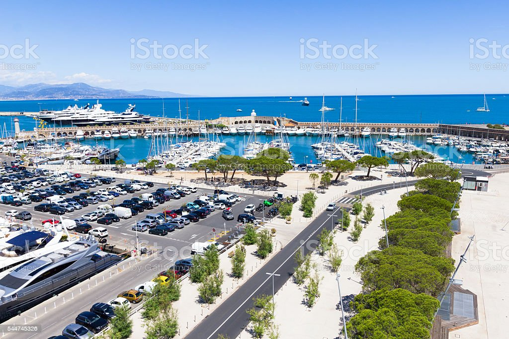Yachts in the port of Antibes, French Riviera stock photo