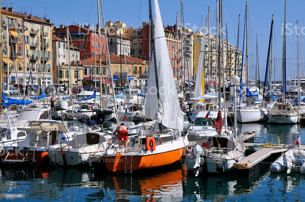Yachts in the port of Nice in France royalty-free stock photo