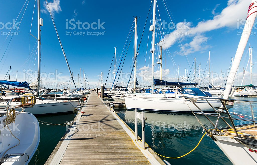 Yachts & Jetty in Portland Marina stock photo