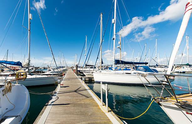 Yachts & Jetty in Portland Marina stock photo